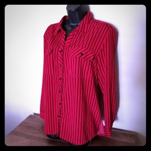 Tops - Red & Black striped button down shirt